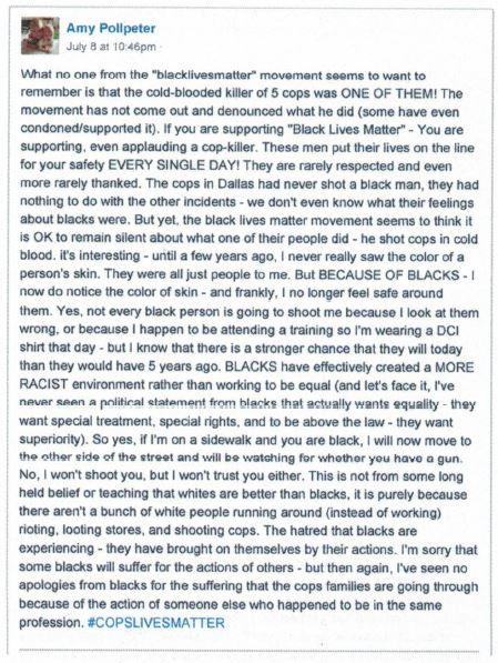 Amy Pollpeter Racist Rant